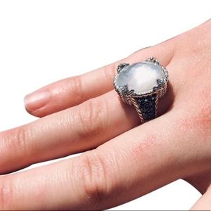 925 Mother of Pearl and Blue Spinel Monaco Ring